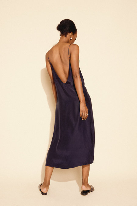 Kamperett Sade Silk Slip Dress in Midnight Navy