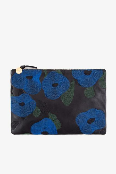 Clare V. Flat Clutch in Blue Belle Du Jour Embroidery