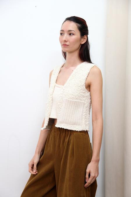 KORDAL Textured Wool Vest - Cream
