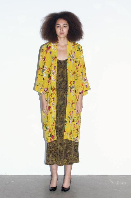 Strathcona Yellow Tulip Garden Silk Kimono Robe