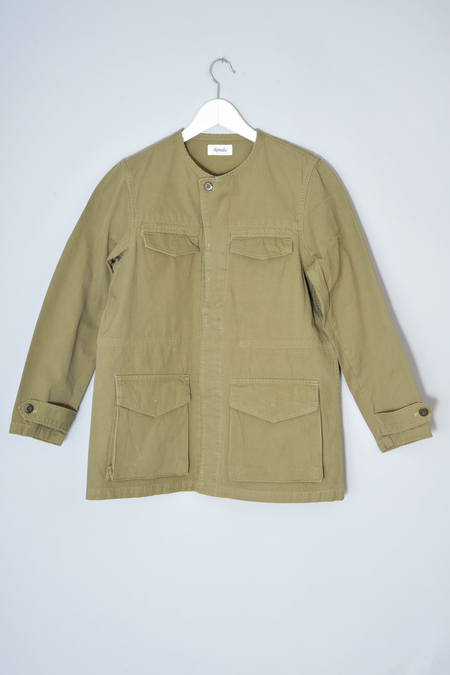 Chimala Light Khaki Vintage Herringbone Fatigue Jacket by Chimala
