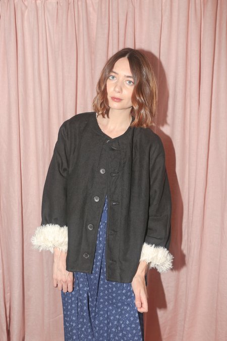 Caron Callahan Tommy Jacket in Black Linen Wool Gauze