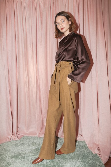 No.6 Fences Trouser in Camel Boiled Wool