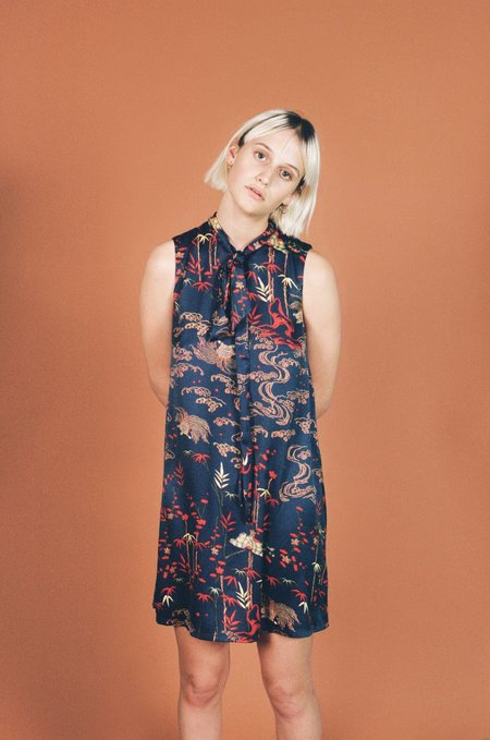 Birds of North America Tattler Dress - Navy Bamboo