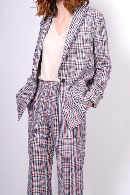 Raquel Allegra Double Face English Plaid Shawl Blazer - Ivory/Navy