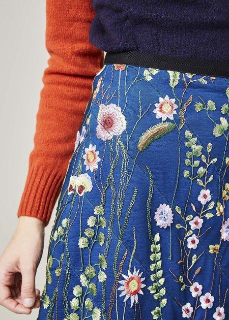 Odeeh Embroidered Net Overlay Skirt
