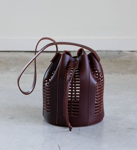 Modern Weaving Mini Die Cut Bucket Bag in Bordeaux