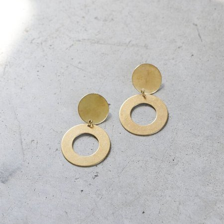 Modern Weaving Mini Disco Earrings in Brass