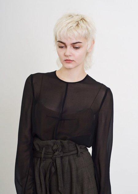 Penny Sage Lily Top - Black Georgette