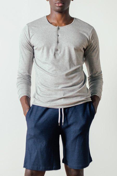 The White Briefs Birch Long Sleeved Henley in Grey Melange