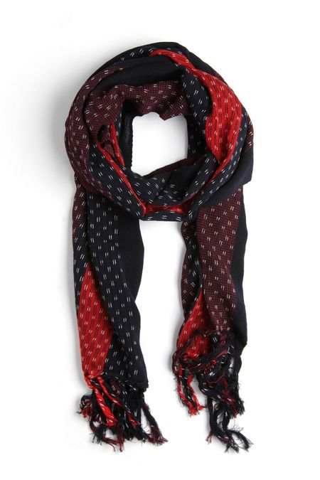 Kiriko Karu-Ori Black Red Stripes Scarf