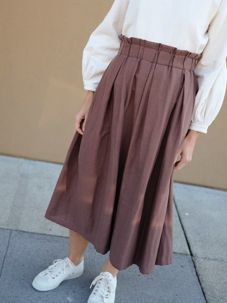 Wrk-Shp Draft Skirt in Cocoa Cotton Gauze