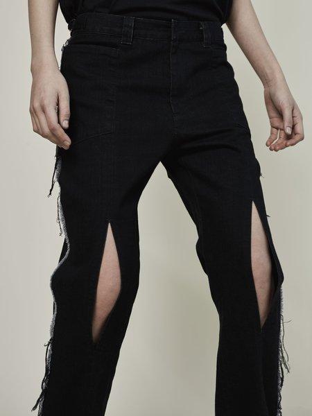 Rask Fray Slit Pant - black