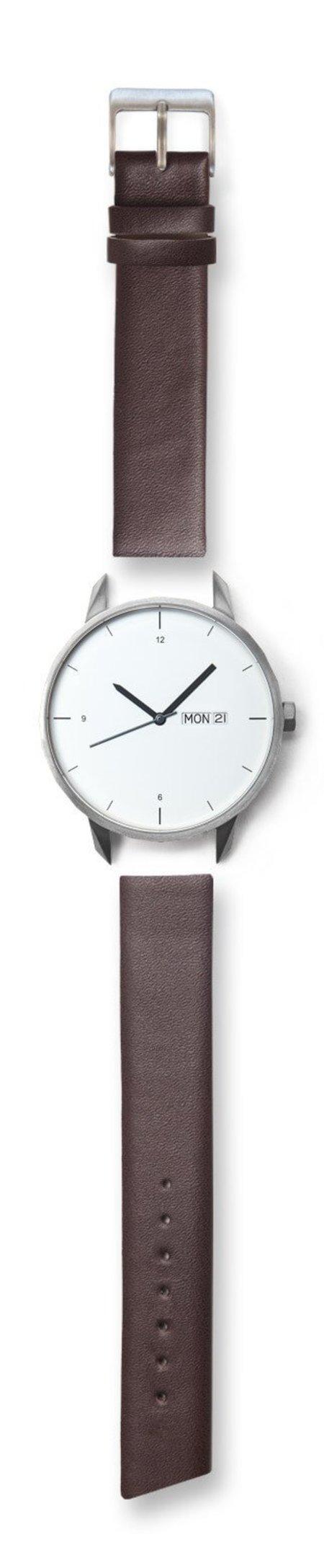Unisex Tinker Watches 42mm Silver Watch Brown Strap