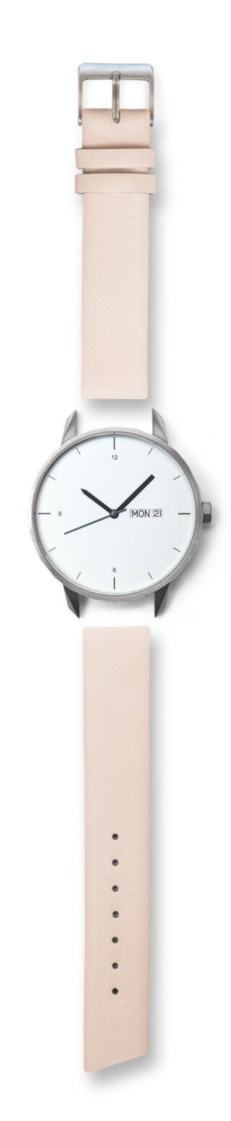Unisex Tinker Watches 42mm Silver Watch Nude Strap