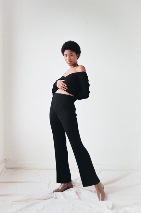 Suzanne Rae Ribbed Knit Pants in Black