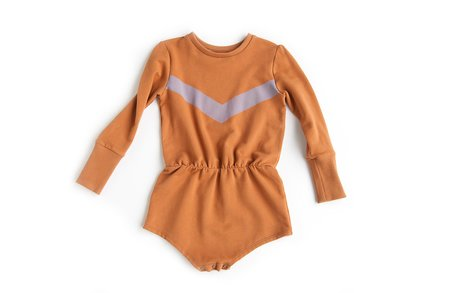 Kids Telegraph Ave Puff Sleeve Romper - Terracota