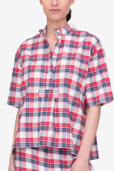 The Sleep Shirt Short Sleeve Cropped Shirt Berry Plaid
