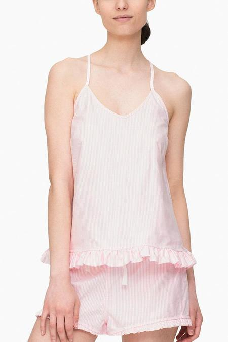 The Sleep Shirt Ruffle Camisole Pink Oxford Stripe