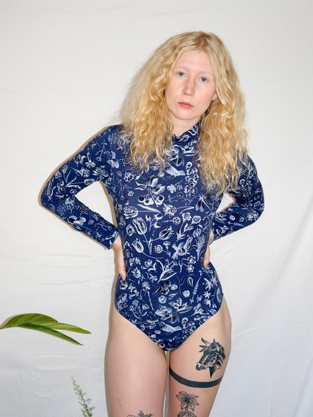 Samantha Pleet SONNET BODYSUIT IN BLUEPRINT FLORAL