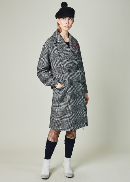 Lost in Me Plaid Houndstooth Coat - BLACK/WHITE