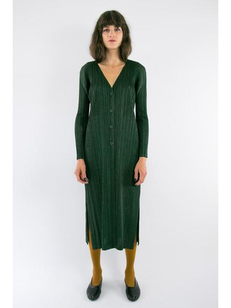 Issey Miyake Button Up Long Sleeve Cardigan - Dark Green