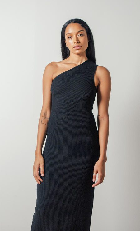 Shaina Mote Cashmere Sling Dress in Onyx