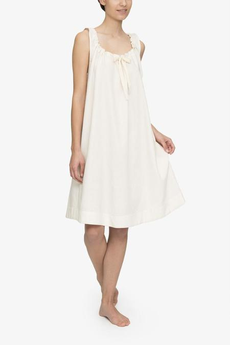 The Sleep Shirt Sleeveless Nightie Cream Herringbone