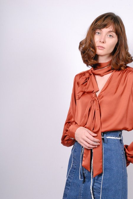 5-Knot Double Bow Tie Blouse