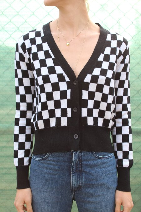 Beklina Cashmere Cardigan - Checkerboard Black/White