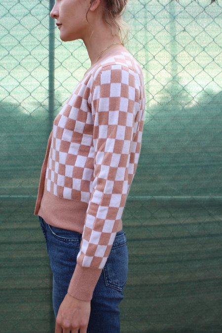 Beklina Cashmere Cardigan - Checkerboard Cocoa/Ivory
