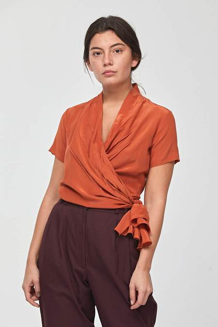 Wray Cayenne Silk Wrap Top