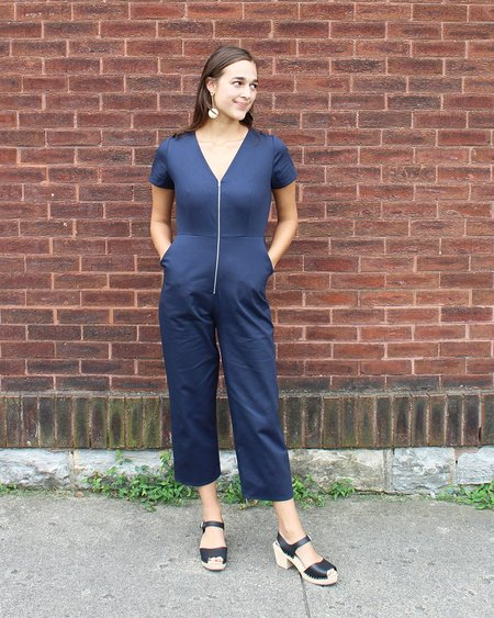 Dusen Dusen Zip Front Jumpsuit in Navy