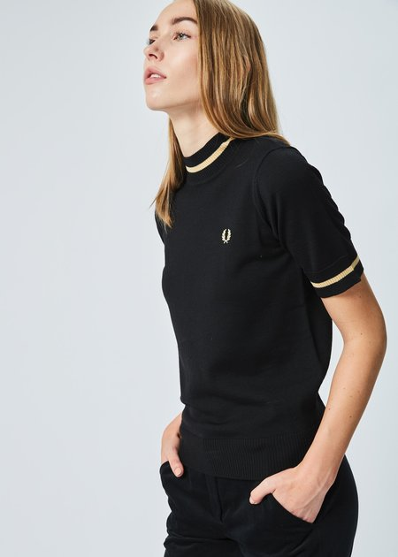 Fred Perry Short Sleeve Mock Neck Sweater