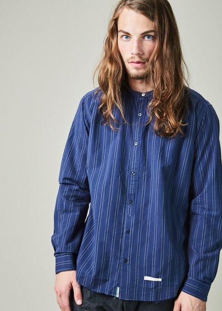 Tintoria Mattei 954 Mandarin Collar Striped Shirt - Blue/Grey