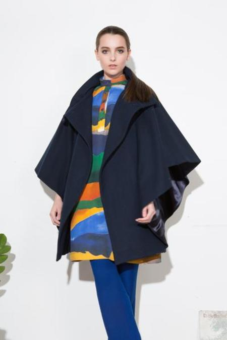 H. Fredriksson Batwing Coat - Navy