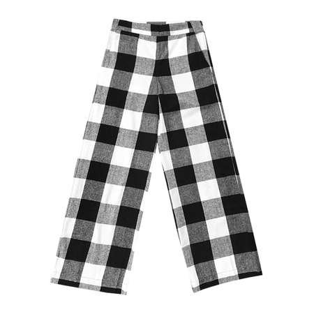Ali Golden SILK HIGH WAISTED PANT - BLACK PLAID
