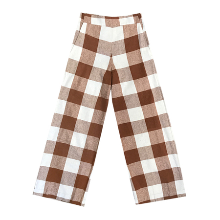 Ali Golden SILK HIGH WAISTED PANT - CHESTNUT PLAID