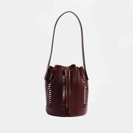 Modern Weaving Mini Die Cut Bordeaux Bucket Bag