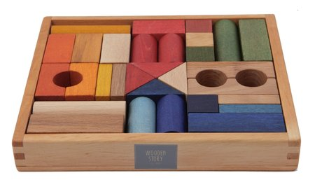 Kids Wooden Story Rainbow Blocks in Tray, 30 Pieces