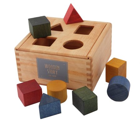 Kids Wooden Story Rainbow Wooden Shape Sorter Box
