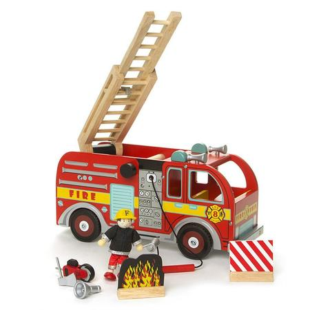 Kids Le Toy Van Wooden Fire Engine Set