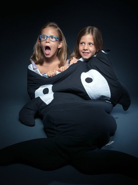 Kids Baby Bites Big Kids Sleeping Bag in Black Orca Whale