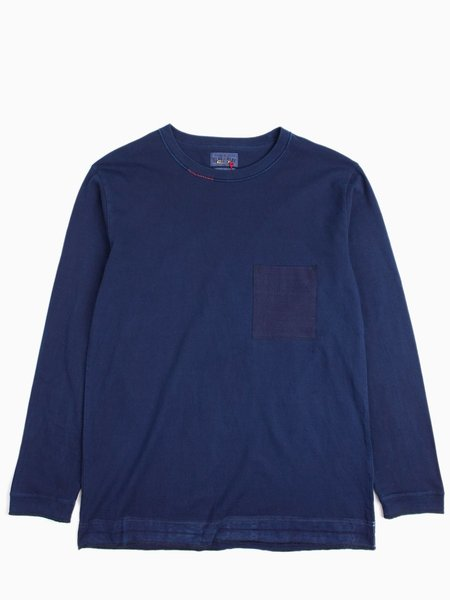 """Blue Blue Japan Indigo Hand Dyed Middle Weight Cotton """"Favourite"""" Repaired LS Tee"""