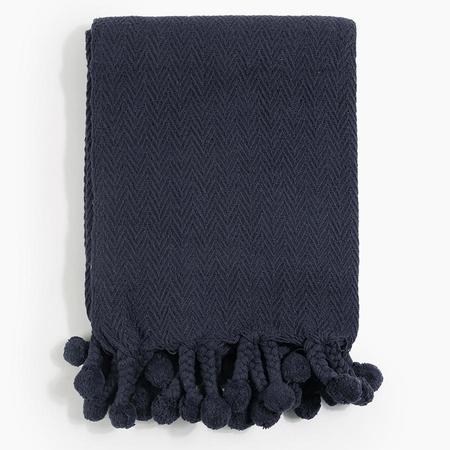 Poketo Pom Pom Blanket in Navy