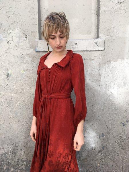 Caron Callahan Michelle Garnet Floral Jacquard Dress