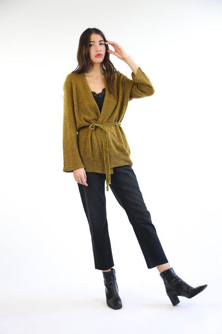 Collection Velvet Tie Cardigan - Mustard