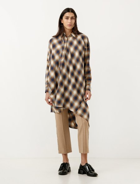 MM6 by Maison Margiela Twisted Flannel Shirtdress Mustard Plaid