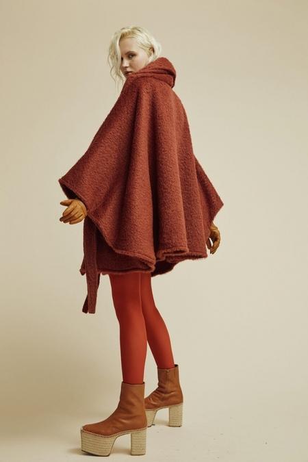 Lindsey Thornburg Rust Alpaca Mid-Length Cloak