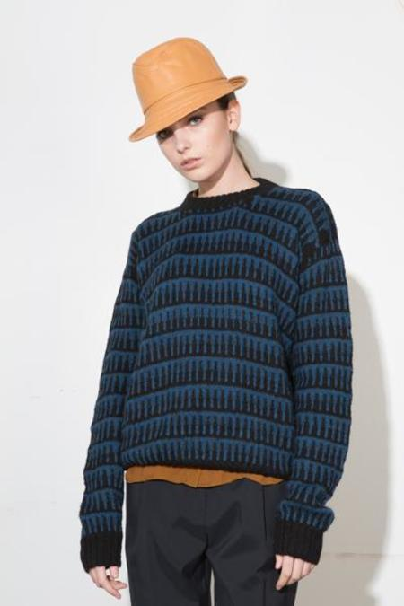 H. Fredriksson Pike Alpaca Knit Sweater - Blue/Black Stripe